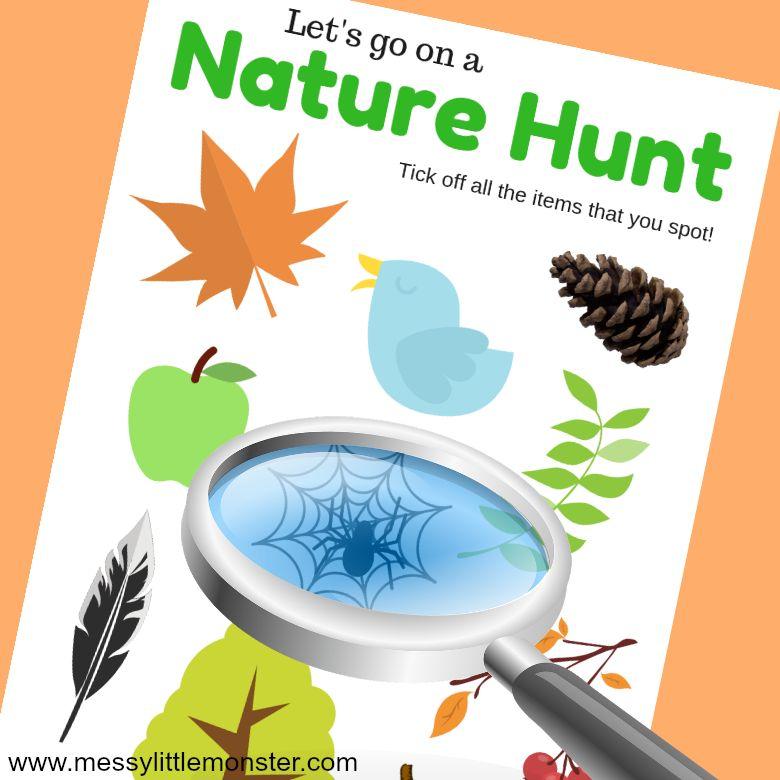 Autumn scavenger hunt activity for kids