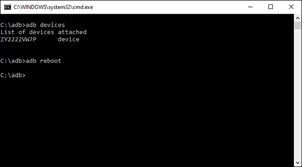 أمر إعادة تشغيل Android Debug Bridge (ADB) على كمبيوتر يعمل بنظام Windows.