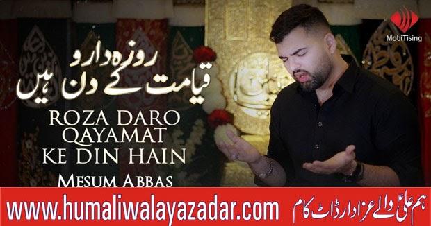 Ali Maula Qasida: ROZADARO QAYAMAT KE DIN HAIN Noha Lyrics Mesum Abbas 2019