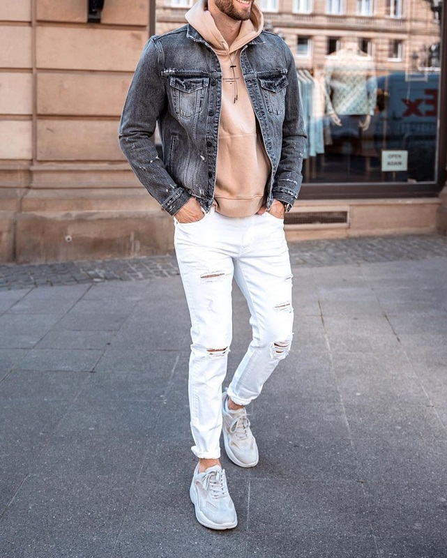 Hoodie with jacket and jeans.