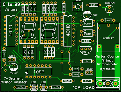 Visitor counter without microcontroller