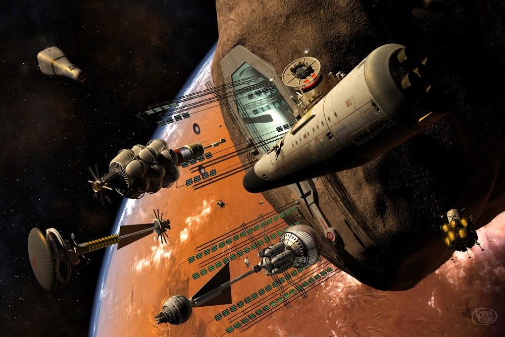 थॉमस पीटर्स (ड्रेल -7) द्वारा फोबोस पर स्पेसपोर्ट