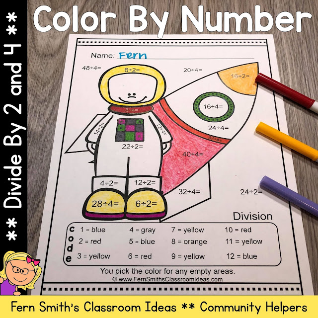 Click here for the Community Helpers Career Themed Color By Number Divide by 2 and 4 Printable Worksheet Resource #FernSmithsClassroomIdeas