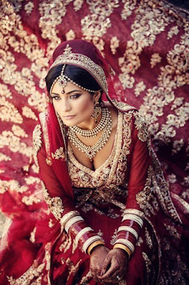 Photo Of Dusky Indian Bride Wearing Bridal Lehenga And Jewelry.