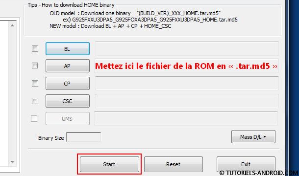 Placer fichier TAR dans case AP (PDA) Odin3