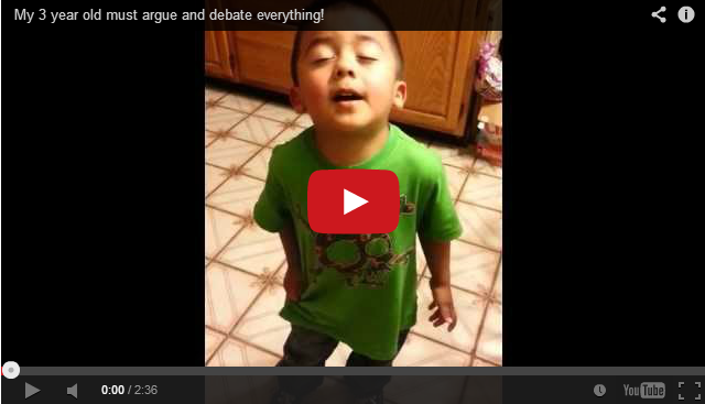 %name Funny video: Watch this 3 year old boy argue with his mum