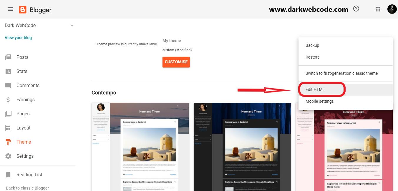 Click Edit HTML screen shot