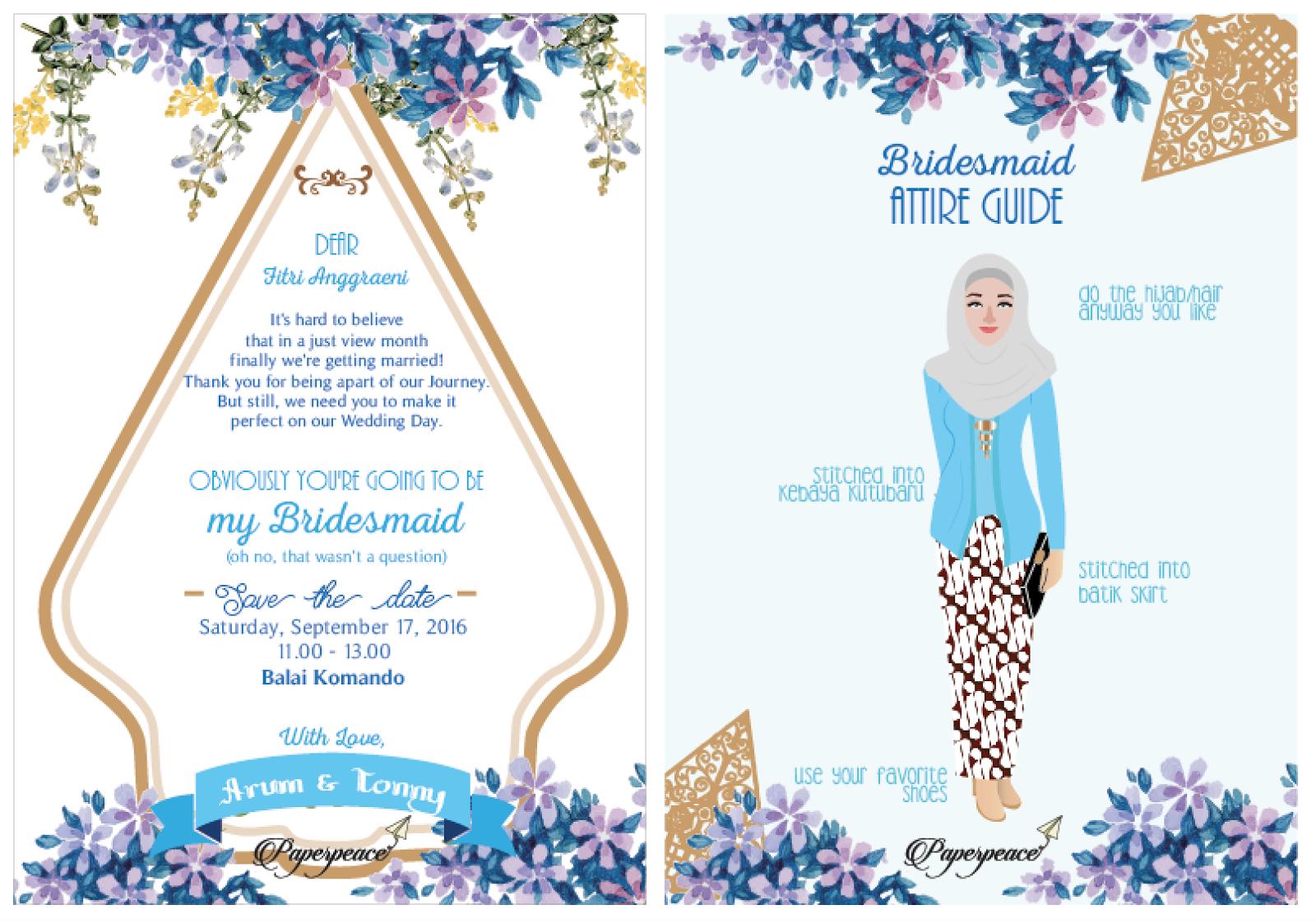 Bridesmaid Card For Ms Arum With Kebaya Kutubaru Dan Gunungan Jawa