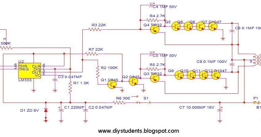 diy students inverter 12v to 220v 300w by ne555 2n3055. Black Bedroom Furniture Sets. Home Design Ideas