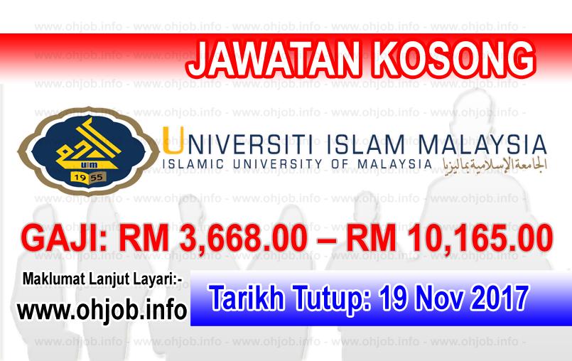 Jawatan Kerja Kosong UIM - Universiti Islam Malaysia logo www.ohjob.info november 2017