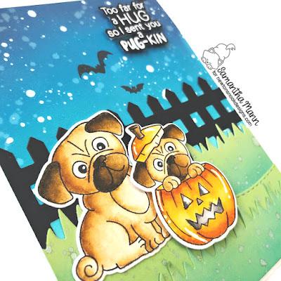 Sending a Pug-kin Card by Samantha Mann for Newton's Nook Designs, Cards, Card Making, Distress Oxide Inks, Ink Blending, Halloween Card, Halloween #halloween #cards #cardmaking #pug #pugkin #scene