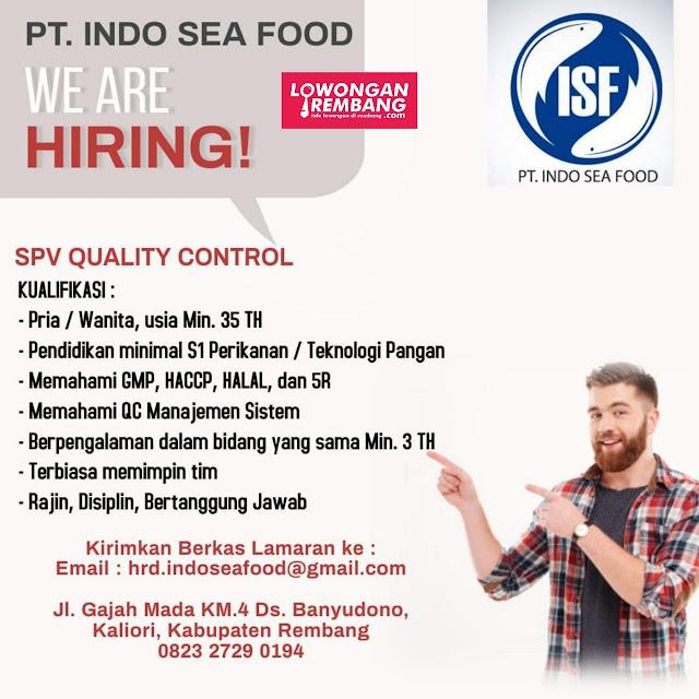 Lowongan Kerja SPV Quality Control PT Indo Sea Food Rembang
