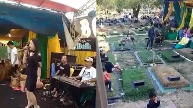 Viral Pesta Pernikahan dan Dangdutan di Tengah Kuburan, Warganet: Jaman Sudah Edan