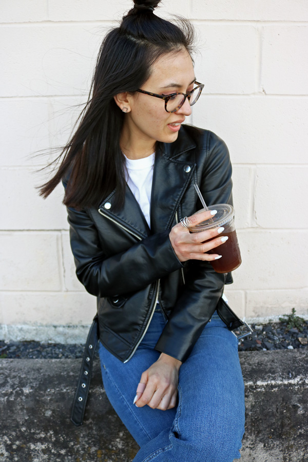 Leather Jacket, White T-Shirt, Jeans, Top-Knot Hair
