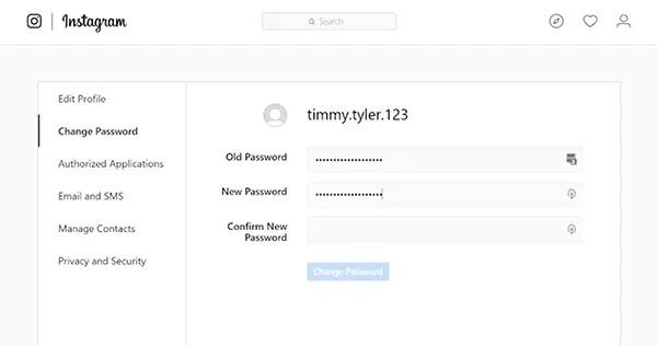 قم بتغيير كلمة المرور الخاصة بك وقم بتسجيل شخص ما من حساب Instagram الخاص بك