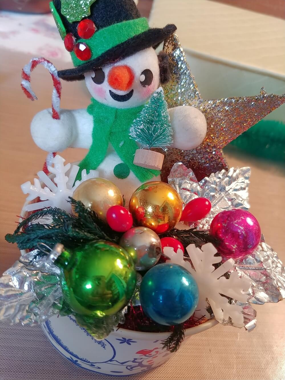 Upcycled Snowman Container