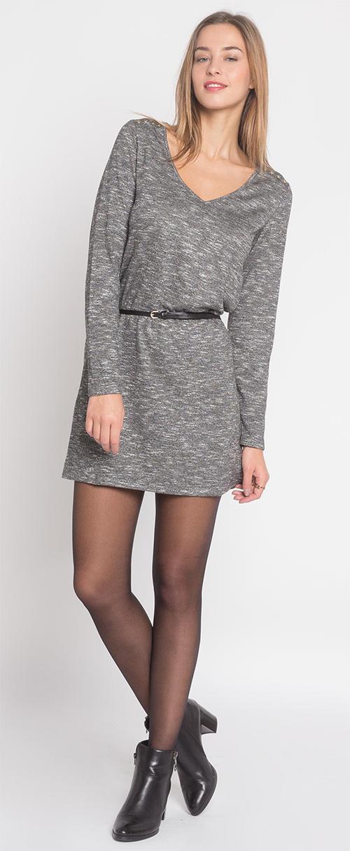 Robe courte en maille grise Cache Cache