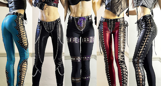 Rock & heavy metal style studded pants and lace up leggings