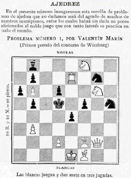 Mate en tres de Valentín Marín i Llovet. 1896