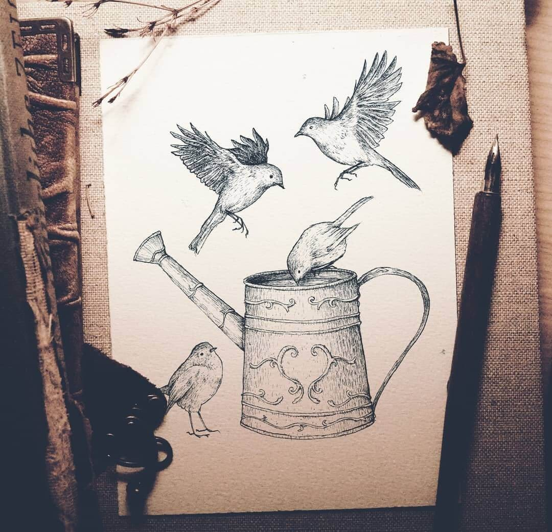 05-Birds-and-a-Watering-Can-Mike-Koubou-Staging-Ink-and-Pencil-Drawings-www-designstack-co