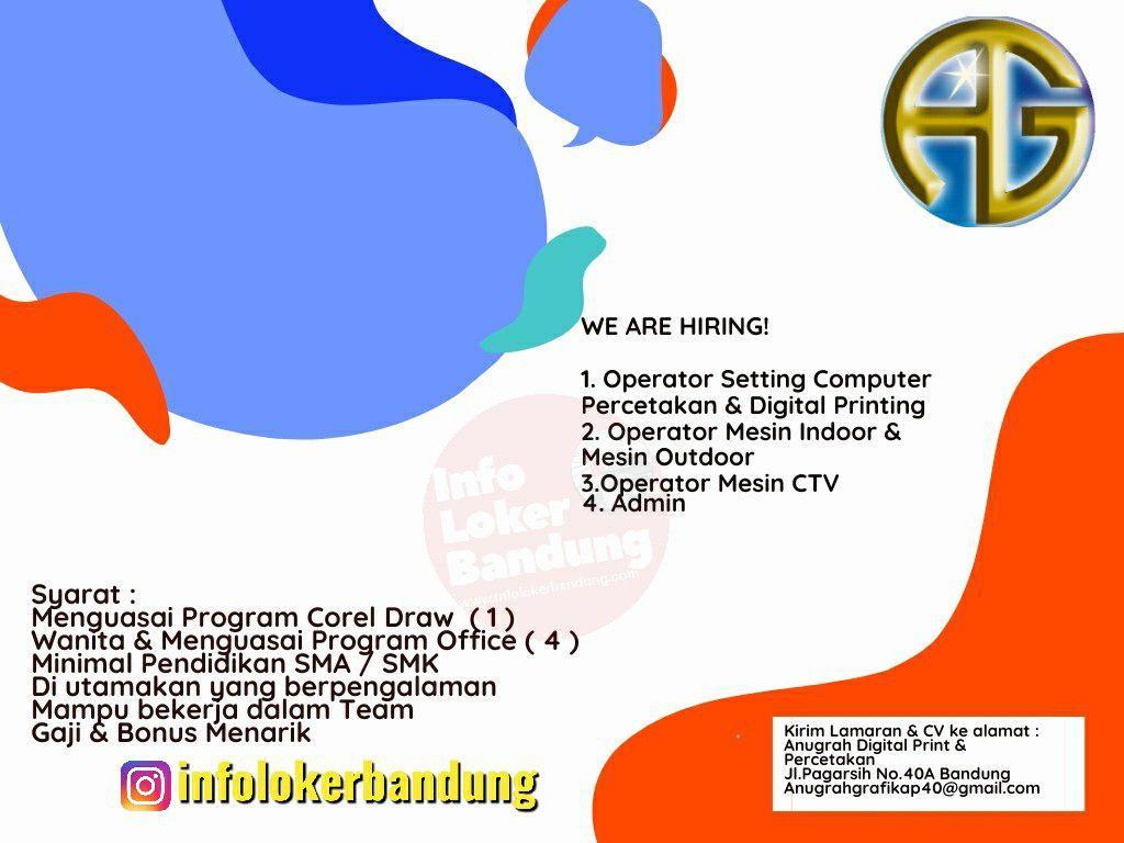 Lowongan Kerja Anugrah Digital Print & Percetakan Bandung November 2019