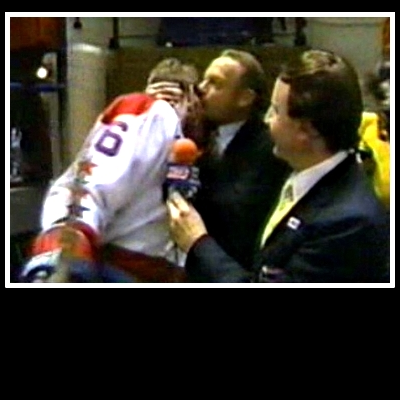 Abe Pollin owned the Capitals from their 1974 inception until selling in 1999. Did he care about his hockey team? Check the smooch he lays on the forehead of Bengt Gustafsson following an overtime victory at Capital Centre. (Book Pg. 209)