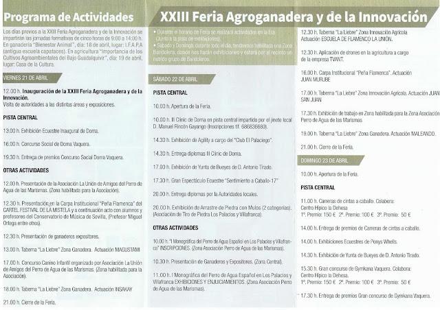 Feria Agroganadera de Los Palacios y Villafranca 2017 - Programa de actividades 01
