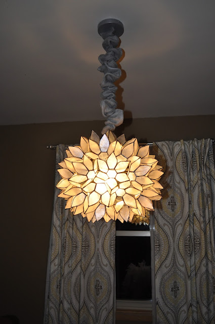 world market, large capiz chandelier, lighting, dining room, hardwire, diy, parchment paper, faux capiz, capiz, capiz lighting, chandelier cover, burlap, etsy