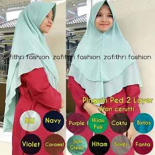khimar pinguin mini 2 layer bahan sifon