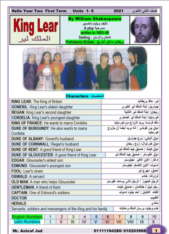 مذكرة القصة للصف الثانى الثانوى الفصل الاول مسرحية الملك لير ترجمة واعداد Mr Ashraf Jad