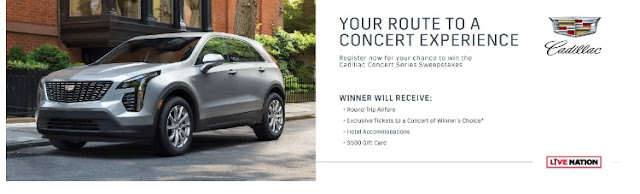 Register now to win the Cadillac Concert Series Sweepstakes to get hotel, airfare, tickets to the concert of your choice and a $5000 gift card!