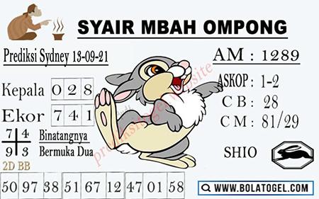 Syair Mbah Ompong SDY Senin 13-Sep-2021