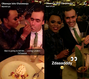 Bobrisky Meets White Male admirer In London,flirts And Spoon-feeds Him [Photos]