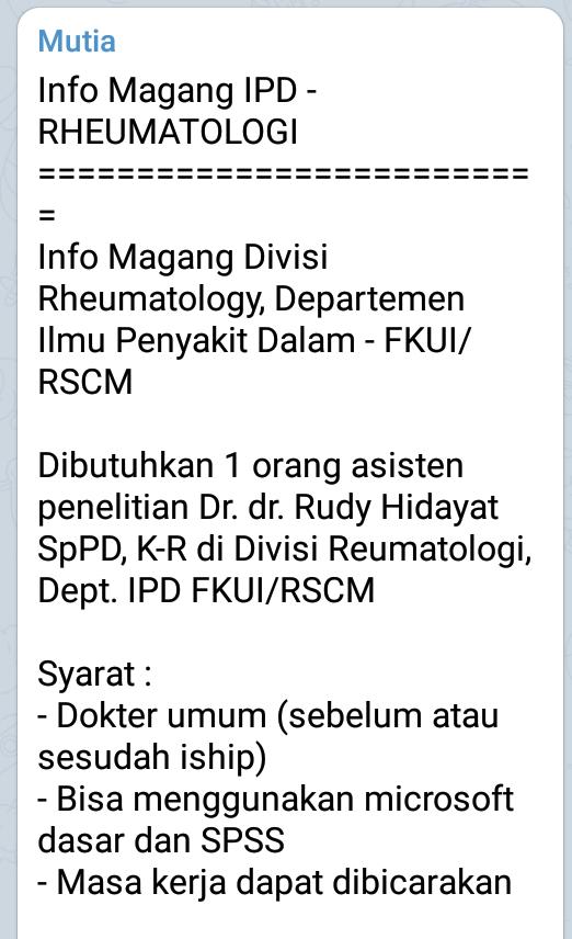 Info Magang IPD - RHEUMATOLOGI  ==========================  Info Magang Divisi Rheumatology, Departemen Ilmu Penyakit Dalam - FKUI/RSCM