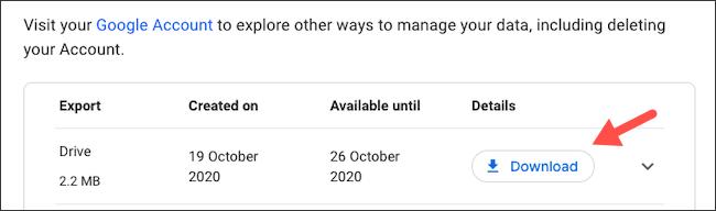 تنزيل تصدير بيانات Google Drive يدويًا