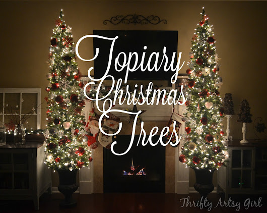 Oh Christmas Tree: DIY Potted Topiary Skinny Christmas Trees in Urns ~ Thrifty Artsy Girl