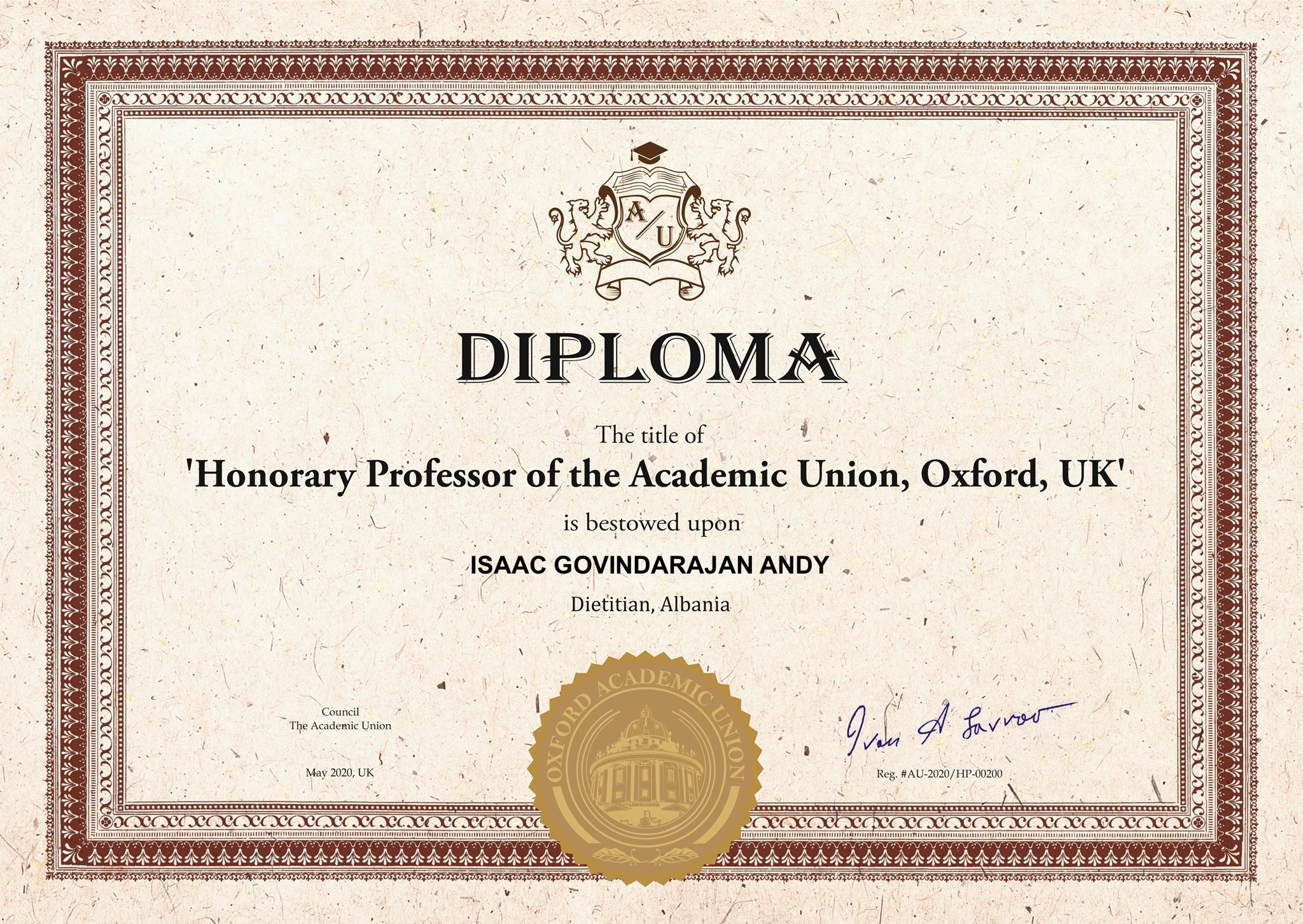 Honorary Professor of Prof. Dr.  Isaac Govind Andy