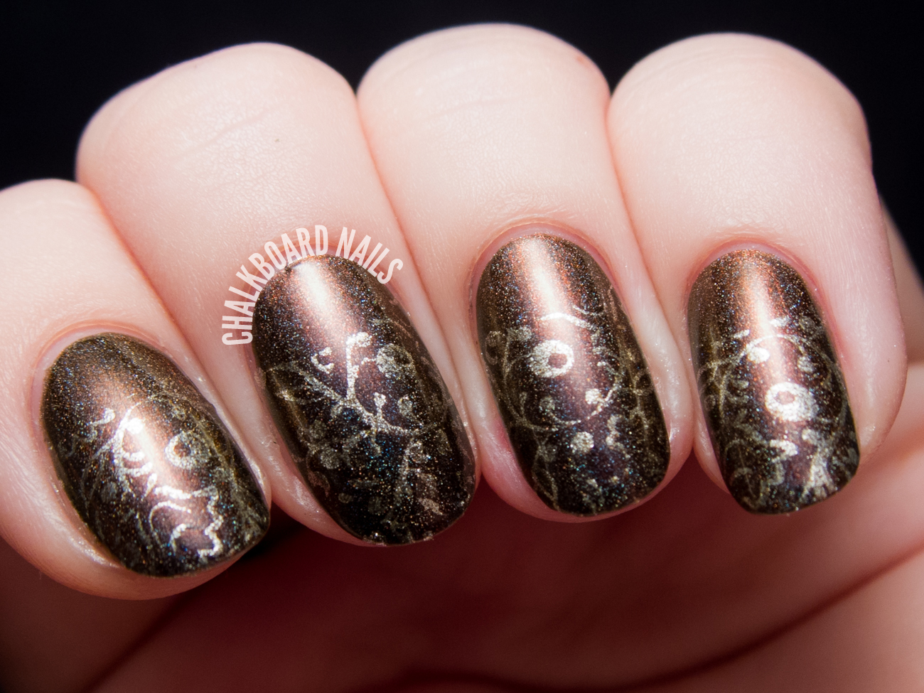Autumnal Gilded Half Moon Stamping by @chalkboardnails