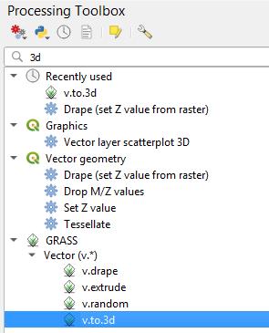 GRASS vector to 3D tool