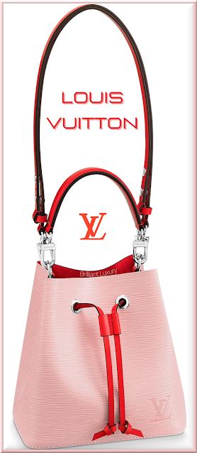 Louis Vuitton NéoNoé BB bucket bag in rose ballerine pink and coquelicot red trim #bags #louisvuitton #brilliantluxury