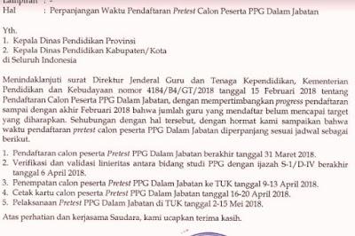 Waktu Pendaftaran Pretest PPG 2018 Diperpanjang