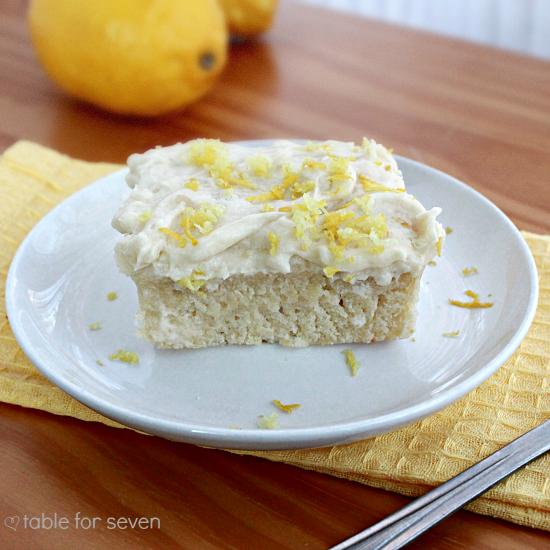 Lemon Snack Cake with the Best Vanilla Frosting Ever #lemoncake #lemon #cake #dessert #tableforsevenblog @tableforseven