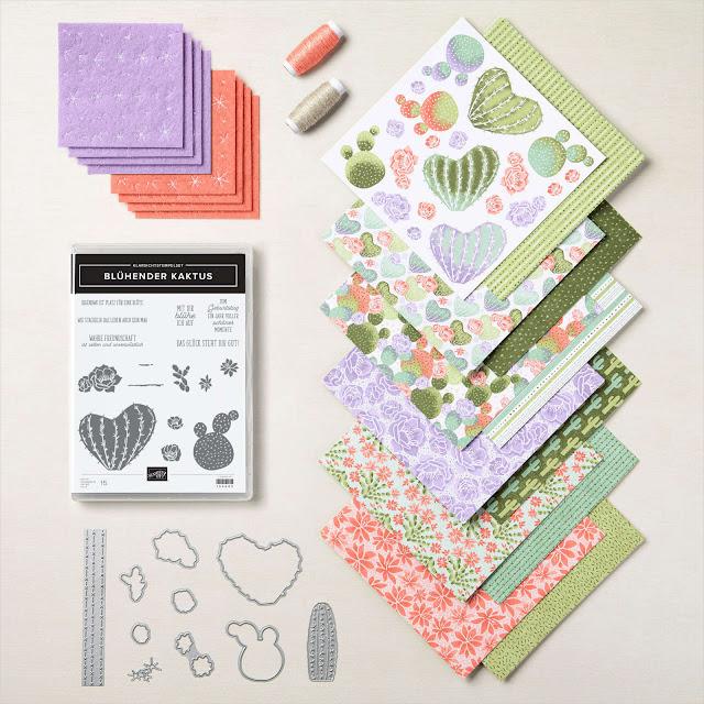 Paket mit Stanzformen, Stempelset, Designerpapier und Zubehör