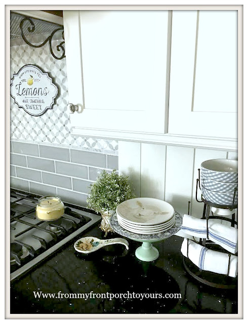 Farmhouse- Cottage- Kitchen-DIY-Backspalsh-Sheep Plates-Blue-White-Decor-From My Front Porch To Yours
