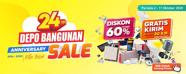 #DepoBangunan - #Promo Annivesary Sale Diskon 60% & Gratis Kirim (s.d 11 Okt 2020)