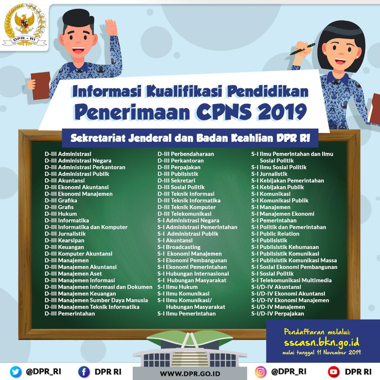 Penerimaan CPNS Sekretariat Jenderal dan Badan Keahlian DPR RI Tahun 2019