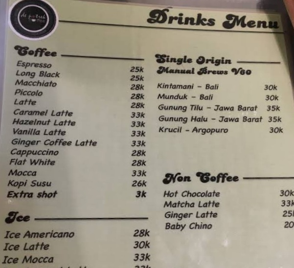 Dowes29.com: Daftar Harga Menu De Potrek Coffee Bromo Dan