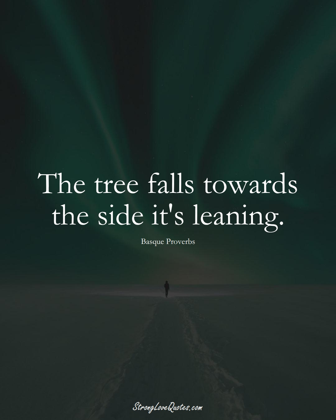 The tree falls towards the side it's leaning. (Basque Sayings);  #EuropeanSayings