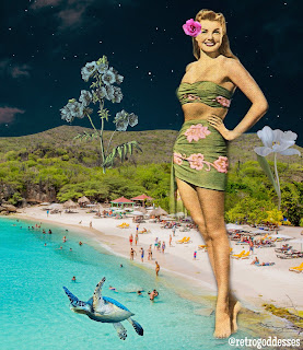 Esther in Curçao,  by Rachel Hancock @retrogoddesses, 2020