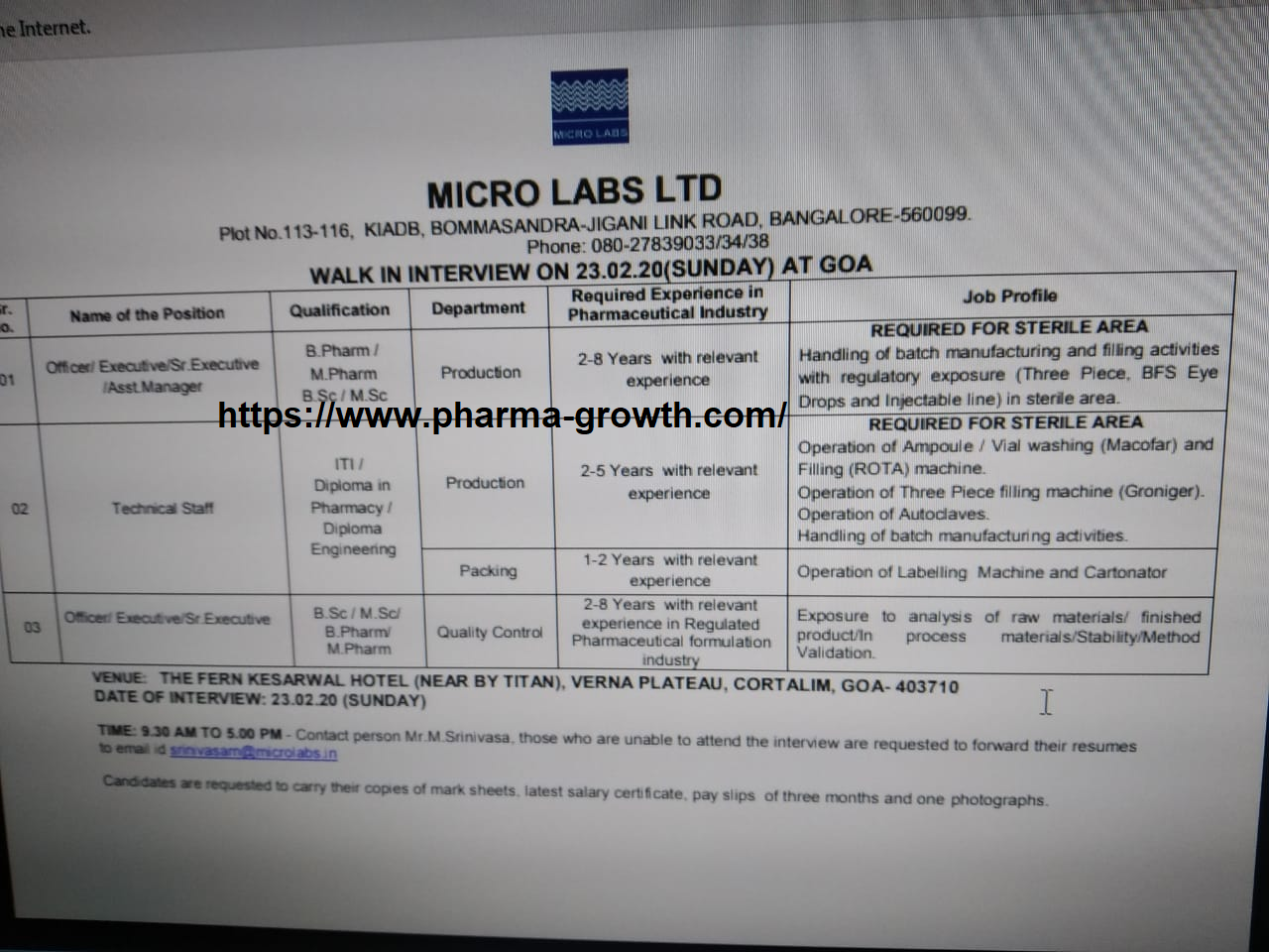 Micro Lab Ltd - Walk in interview for Production, Quality Control, Packing on 23rd Feb 2020
